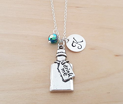 Drink Me Necklace - Alice in Wonderland Charm Personalized Sterling Silver Necklace - Custom Jewelry - Gift for Her