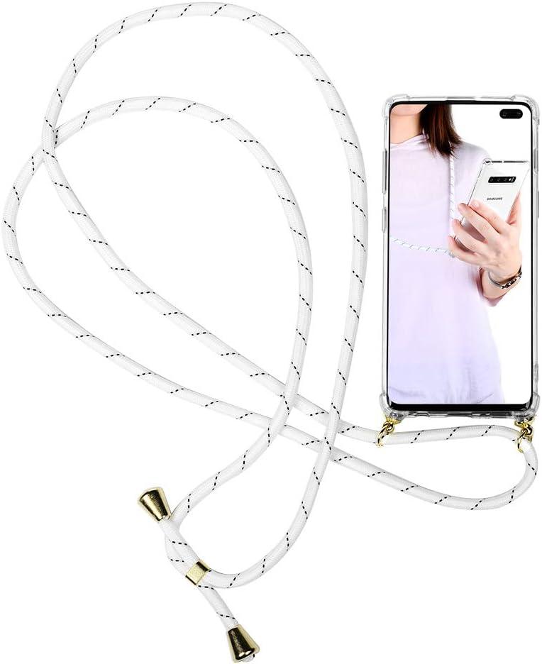 Funda con Cuerda para Samsung Galaxy S10 Plus, Carcasa Transparente de TPU con Colgante Case Correa Colgante, con Cordon para Llevar en el Cuello en Transparente, Punto negro blanco