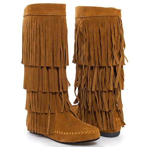 Fringe 4 Layer Moccasin Knee High Mid Calf Tall Vegan Boot (5.5, Rust)