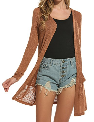 ELESOL Women's Open Front Casual Long Sleeve Knitted Cardigan Sweater Coffee S