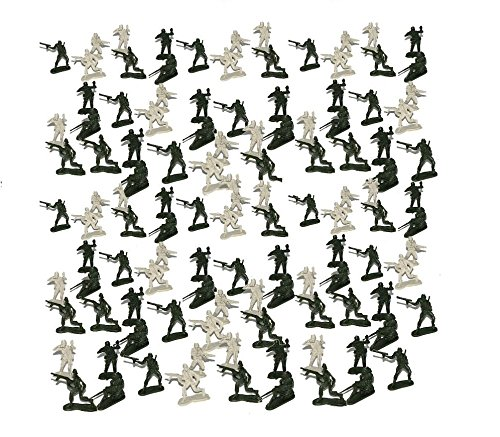 Miniature Toy Soldier Figurines 144 Count - Novelty Mini Combat Army Foot Soldiers | Mercenary Trooper Infantry Military Men at Arms Set of 144 Pcs (2 Colors) Multiple Styles