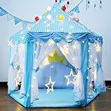 YJ.GWL Blue Princess Castle Tent Girls Large Playhouse Toys with Lights and Ball for Kids Girls Indoor and Outdoor Games, Portable Fun Hexagon Toddler Toys 55'' x 53''