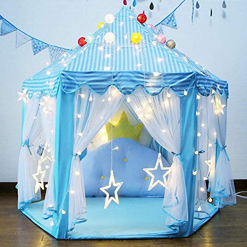 YJ.GWL Blue Princess Castle Tent Girls Large Playhouse Toys with Lights and Ball for Kids Girls Indoor and Outdoor Games, Portable Fun Hexagon Toddler Toys 55'' x 53'' by YJ.GWL