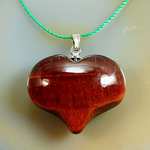 AD Beads Natural Heart Pendant Necklace Gemstone Reiki Chakra Healing Bead 20x25mm (Red Tiger's Eye) - Gemstone Heart Pendant Bead
