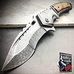 9″ MTECH SPRING ASSISTED OPEN STONEWASH Tactical Folding POCKET KNIFE Steampunk + free eBook by ProTactical'US