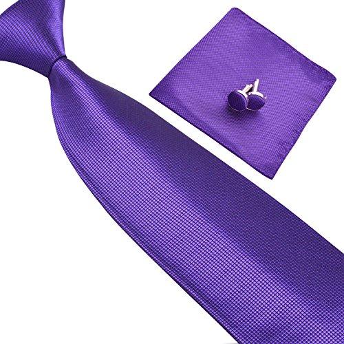 Solid Neckties for Men Dark Purple Tie Set with Handkerchief and Cufflinks (Square Purple Cufflinks)