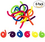 6 Neon Stretchy Strings For ADD / ADHD Stretch Toy Stress Reliever Fidget Toy Sensory Toys – Stretches From 13 Inches To 10 Feet Long!