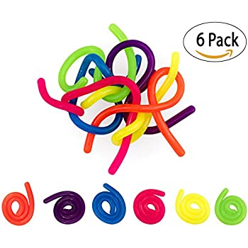 6 Neon Stretchy Strings For ADD / ADHD Stretch Toy Stress Reliever Fidget Toy Sensory Toys - Stretches From 13 Inches To 10 Feet Long!