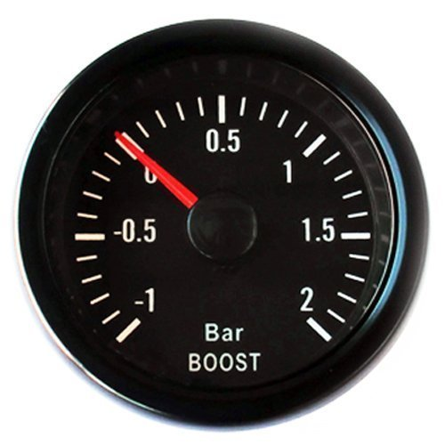 Mechanical Turbo Boost Pressure Gauge Kit - Bar 52mm Universal Black: