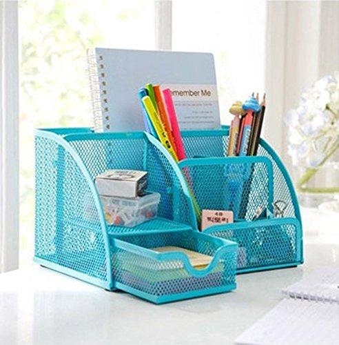PAG Steel Mesh Desk Organizer,office Organizer Supplies,Pen Holder_6-part Blue_