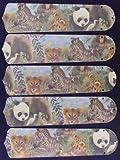 zebra ceiling fan blades - Ceiling Fan Designers 52SET-KIDS-BSELZ Baby Safari Elephant Lion Zebra 52 in. Ceiling Fan Blades Only