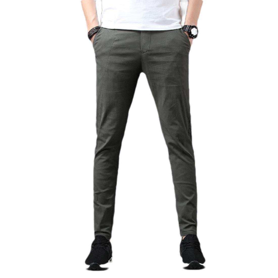 XiaoShop Men Slim Straight Leg No-Iron Athletic Fit Oceanside Trousers