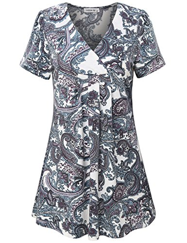 MOQIVGI Dressy Tops for Women, Ladies V-Neck Short Sleeve Boho Fashion Vintage Long Shirts Designer Elegant A-line Trapeze Paisley Tunics Summer Cute Floral Work Blouses Multicoloured White ()