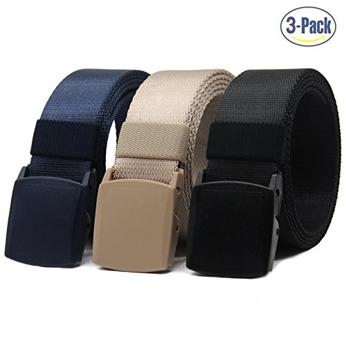 Nylon Canvas Belt Hiking Outdoor Adjustable Belts Unisex Military Style Casual Army Outdoor Tactical Plastic Buckles Webbing for Men and Women 2 pack By ANDY GRADE (Black + Blue + (Canvas Waist Belt)