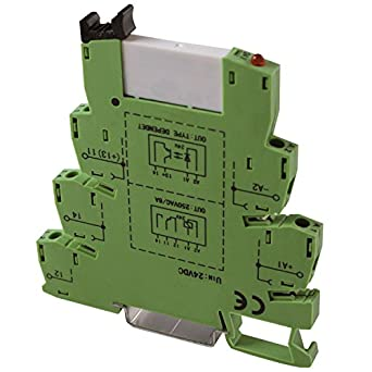 ASI ASI328002 ASIPLCREL24Vdc Pluggable SPDT Relay with DIN Rail Mount Screw  Clamp Terminal Block Base, 6 amp, 250 VAC Rating, 24 VDC Coil