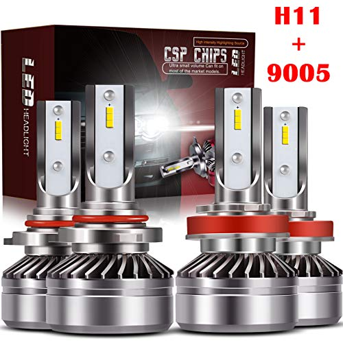 TURBOSII 9005/HB3 High Beam H11/H8/H9 Low Beam Led Headlight bulbs Combo Conversion Kits DOT Approved D6 Series CSP Chips,12000LM 6000K Cool White (4Pack,2 sets,Silver) ()