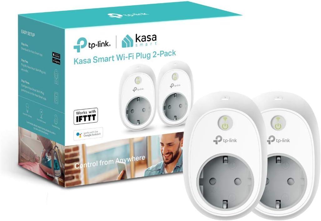 TP-Link, Enchufe Inteligente para Controlar Sus Dispositivos Desde Cualquier Lugar, Sin Necesidad de Concentrador, Funciona con Amazon Alexa y Google Home e Ifttt (Hs100) (2 Pack), Wi-Fi Ready