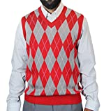 Blue Ocean Big Men Argyle Jacquard Sweater Vest Red XXXX-Large