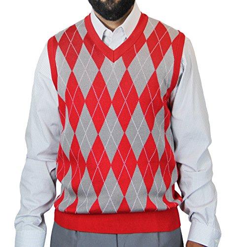 Blue Ocean Big Men Argyle Jacquard Sweater Vest Red XXXX-Large by Blue Ocean