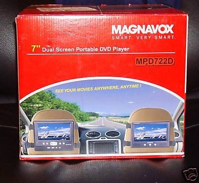 "Magnavox MPD722D Portable Region Free 7"" Dual Screen DVD Pla"
