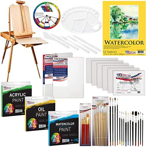 "US ART SUPPLY 121-Piece Custom Artist Painting Kit with Coronado Sonoma Easel, 24-Tubes Acrylic Colors, 24-Tubes Oil Painting Colors, 24-tubes Watercolor Painting Colors, 2-each 16""x20"" Artist Quality Stretched Canvases, 6-each 11""x14"" Canvas Panels, 11""x14"" Watercolor Paper Pad, 10-Natural Hair Bristle Paint Brushes, 7-Nylon Hair Paint Brushes, 15-Multipurpose Paint Brushes, Trowel, 5 Pallete Knives, 17-Well Paint Mixing Pallete"