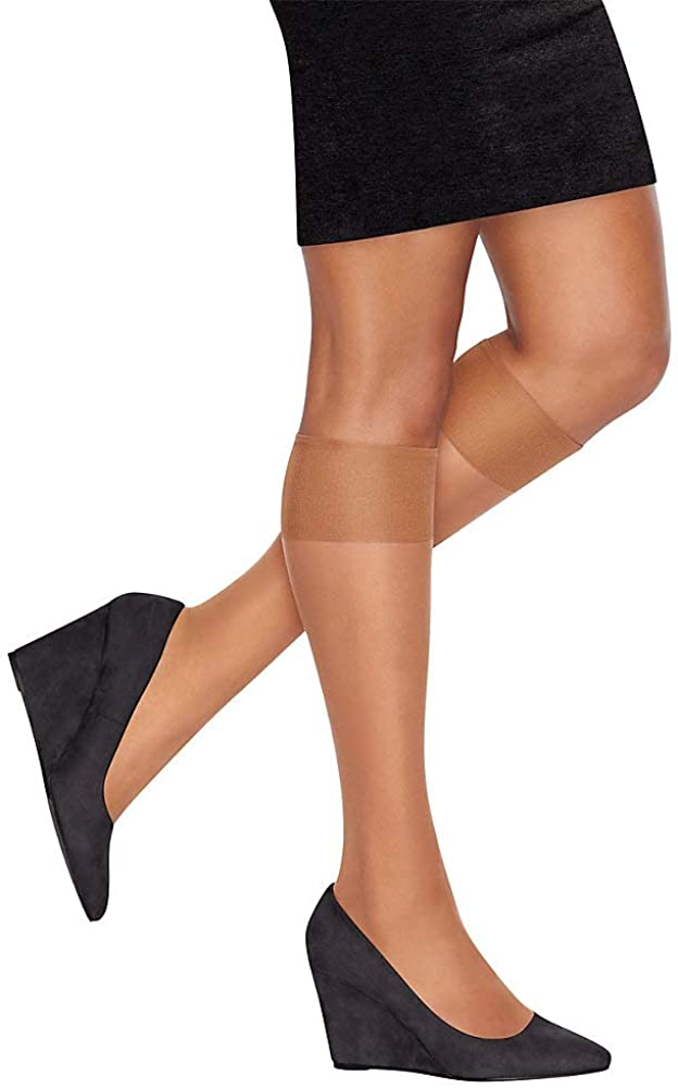 L/'eggs Everyday Knee Highs One Size Fits All 10 Pairs Jet Black