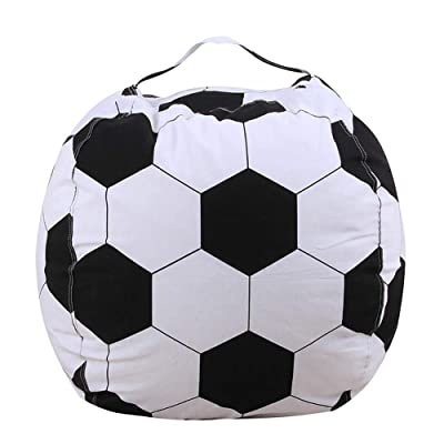 Adaap Children's Plush Toy Storage Bag Football Football Bean Bag Storage Bag Storage Fun Chair Suitable for Children's Room or Bedroom (26 Inch Football): Kitchen & Dining
