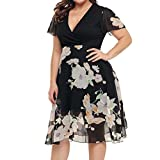 Women Plus Size Dress Chiffon V Neck Short Sleeve Evening Dress Floral Cocktail Dresses by SanCanSn (Black,XL)