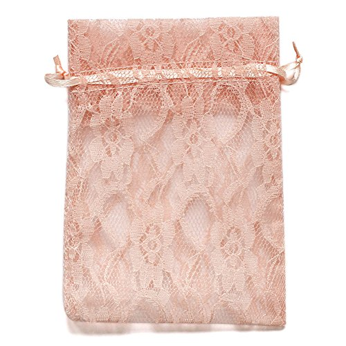 Ling's moment 50pcs Peachy Pink Lace Gift Bag Organza Drawstring favor Pouches Wrap for Wedding Party Gift Favor Bags