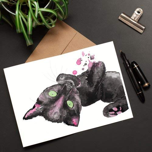 photo about Cat Birthday Card Printable titled : Lovely Cat Greeting Card Watercolor print, Kitty