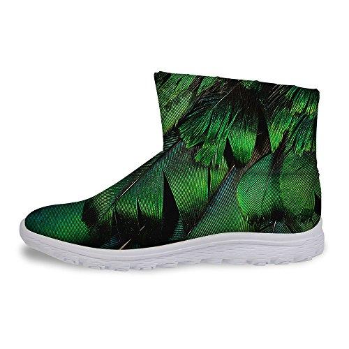 Voor U Ontwerpen Damesmode Winter Warm Slip Op Platte Hak Korte Snowboots Waterdicht Schoeisel Groen 2