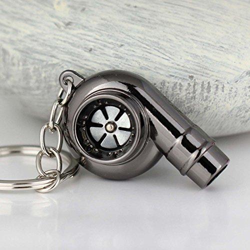 Maycom Creative Spinning New Chrome Polished Gunmetal Black Turbo Turbocharger Keychain Key Chain Ring Keyring Keyfob,make Whistle Sound (Miniature Whistles)