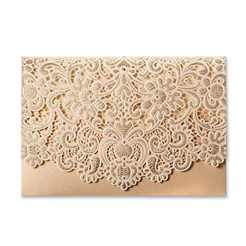 Laser Cut Wedding Invitations Gold Pocket Invitation Cards with Envelopes Wedding Invites Kit Lace Flora Favors Blank Printable Cardstock for Engagement Bridal Shower CW072 (100 -