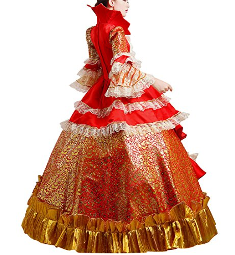 Viktorianisches Satin Maxi Kleid Renaissance Damen Kostüm Nuoqi Gothic q4UtAt