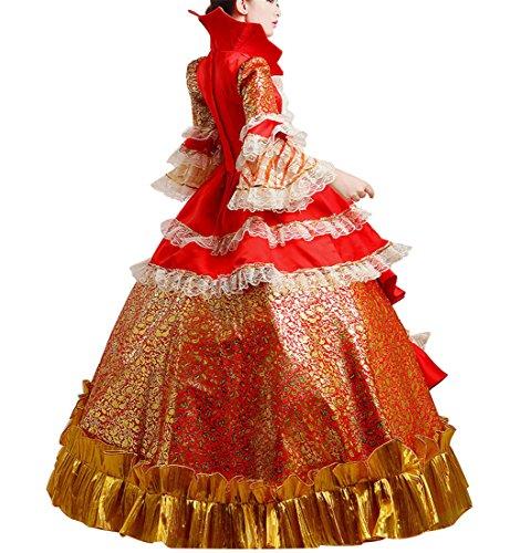 Damen Satin Nuoqi Viktorianisches Gothic Kostüm Kleid Renaissance Cc2377i Maxi ZwdwgSx