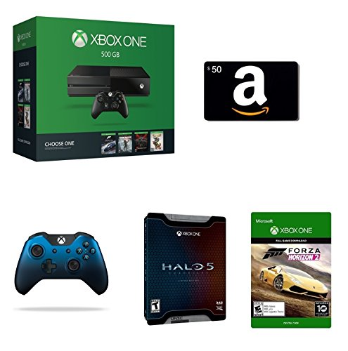 Xbox One 500GB Console - Name Your Game Bundle + $50 Amazon Gift Card [Physical Card] + Halo 5: Guardians -...