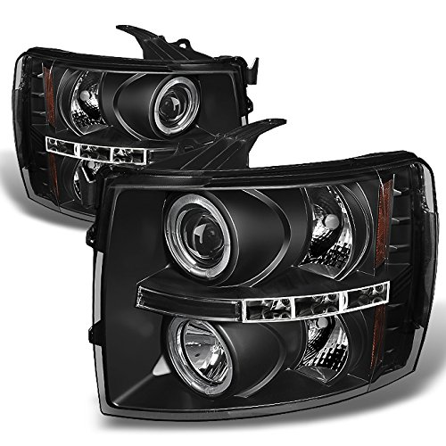 - For 2007-2014 Silverado Pickup Truck Black Bezel [Dual Halo Ring] LED Projector Headlights Left + Right Pair