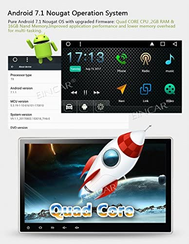 10.1 Upgraded Android 7.1 Quad Core Double Din Car Stereo Car DVD//CD Player in Dash GPS Navigation with Radio Receiver Support Bluetooth WiFi AM//FM Subwoofer Free Front and Reverse Cameras!