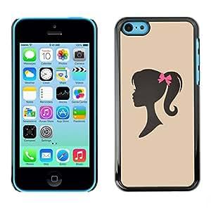 TopCaseStore / la caja del caucho duro de la cubierta de protección de la piel - Girl Silhouette Bow Pink Hairdresser Beige - Apple iPhone 5C