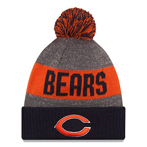 - New Era Knit Chicago Bears Orange On Field Sideline Winter Stocking Beanie Pom Hat Cap 2015