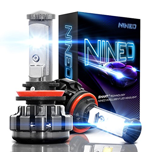 NINEO H11 LED Headlight Bulbs, H8 H9 CREE Chips, Cool White Conversion Kit 6000K 7,200Lm - 3 Yr Warranty