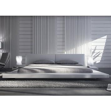 Polster Bett 200 X 220 Cm Weiß Aus Kunstleder Mit