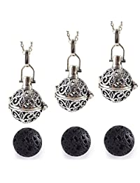 GraceAngie 3Pcs Antique Silver Diffuser Locket Necklace Aromatherapy Essential Oil Pendant Cage Locket with Lava Beads