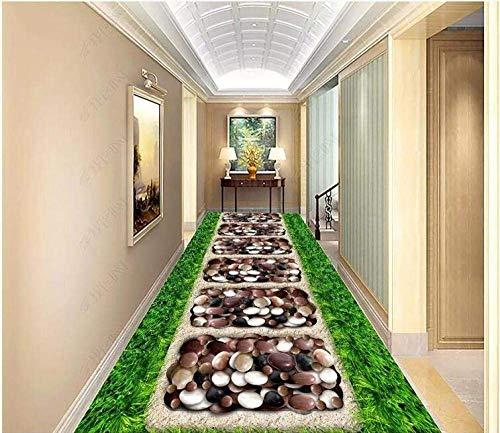 Giow PVC Autoadhesivo Papel Tapiz 3D para Pisos Mural Verde Césped Adoquines Jardín Corredor Decoración de Pisos Interiores Pintura a 300 * 210 cm: Amazon.es: Hogar