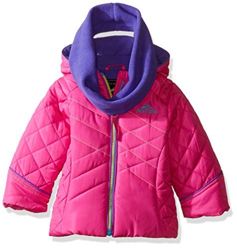 Pacific Trail Baby Girls' Puffer Jacket with Infinity Scarf, Pink, 12 (Stitch Insulated Jacket)