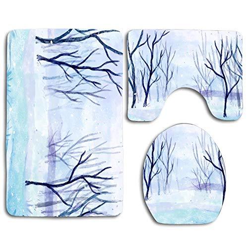 NEWcoco 3PCS Toilet Carpet Mats Seat Cushion Cover Doormat Winter Landscape