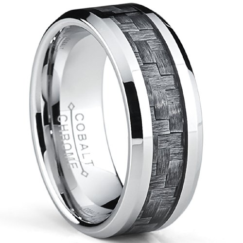 - Metal Masters Co. High Polish Cobalt Men's Wedding Band Engagement Ring W/Gray Carbon Fiber Inlay, Comfort Fit SZ 8
