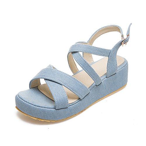 Sandalias QIN Mujeres Peep Casual Blue Las Toe Talón amp;X Light Chunky 8rq8TO