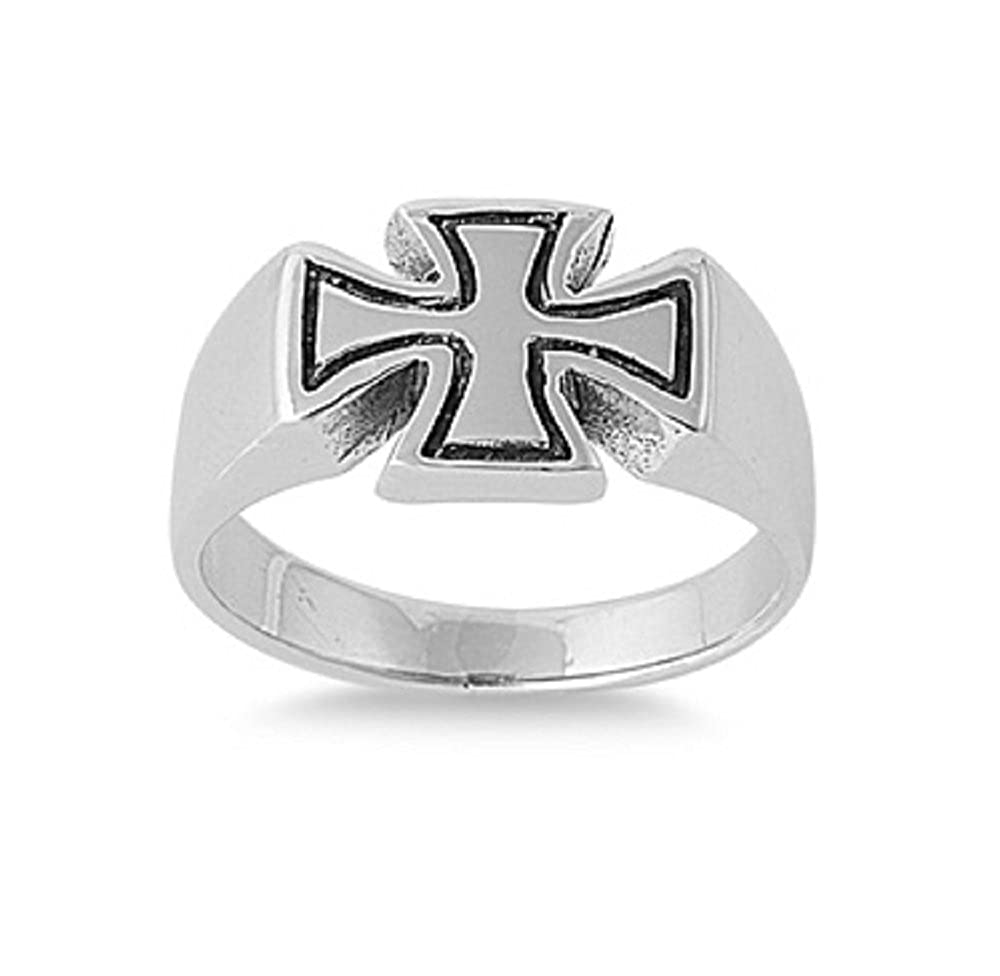 Princess Kylie 925 Sterling Silver Balanced Iron Independence Cross Ring