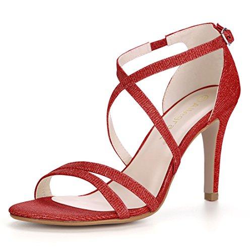 Allegra K Women's Glitter Stiletto Strappy Sandals Red